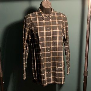 NWOT Madewell black/white plaid fleece top (7/$35)